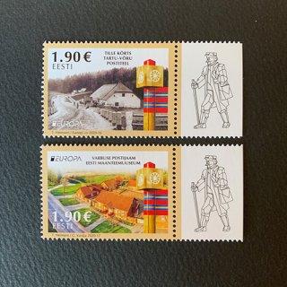 エストニアの切手・ヨーロッパ・昔の郵便ルート・2020(2)