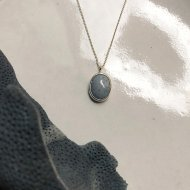 Blue Fossil Coral Drop Necklace