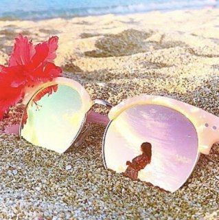 Marble Pattern Mirror Sunglasses