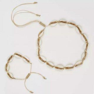 Gold Cowrie Shell choker & bracelet