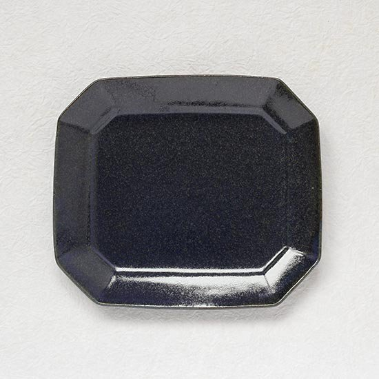 八角ケーキ皿 鉄散 / 古谷製陶所