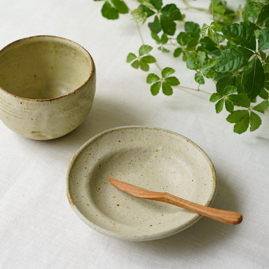 リム皿4寸 黄粉引 / 佐藤敬