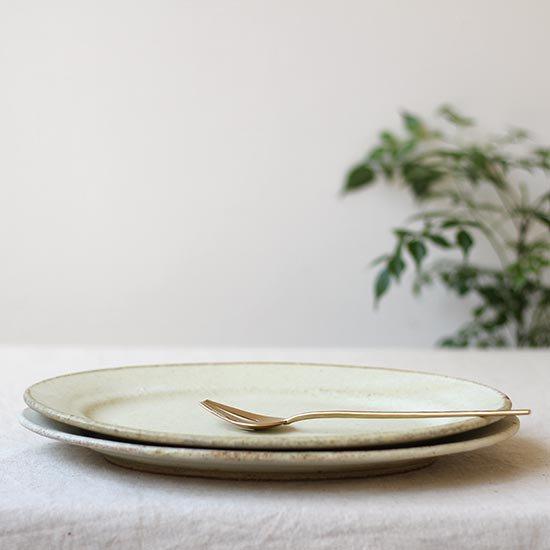 リムオーバル皿 大 黄粉引 / 佐藤敬