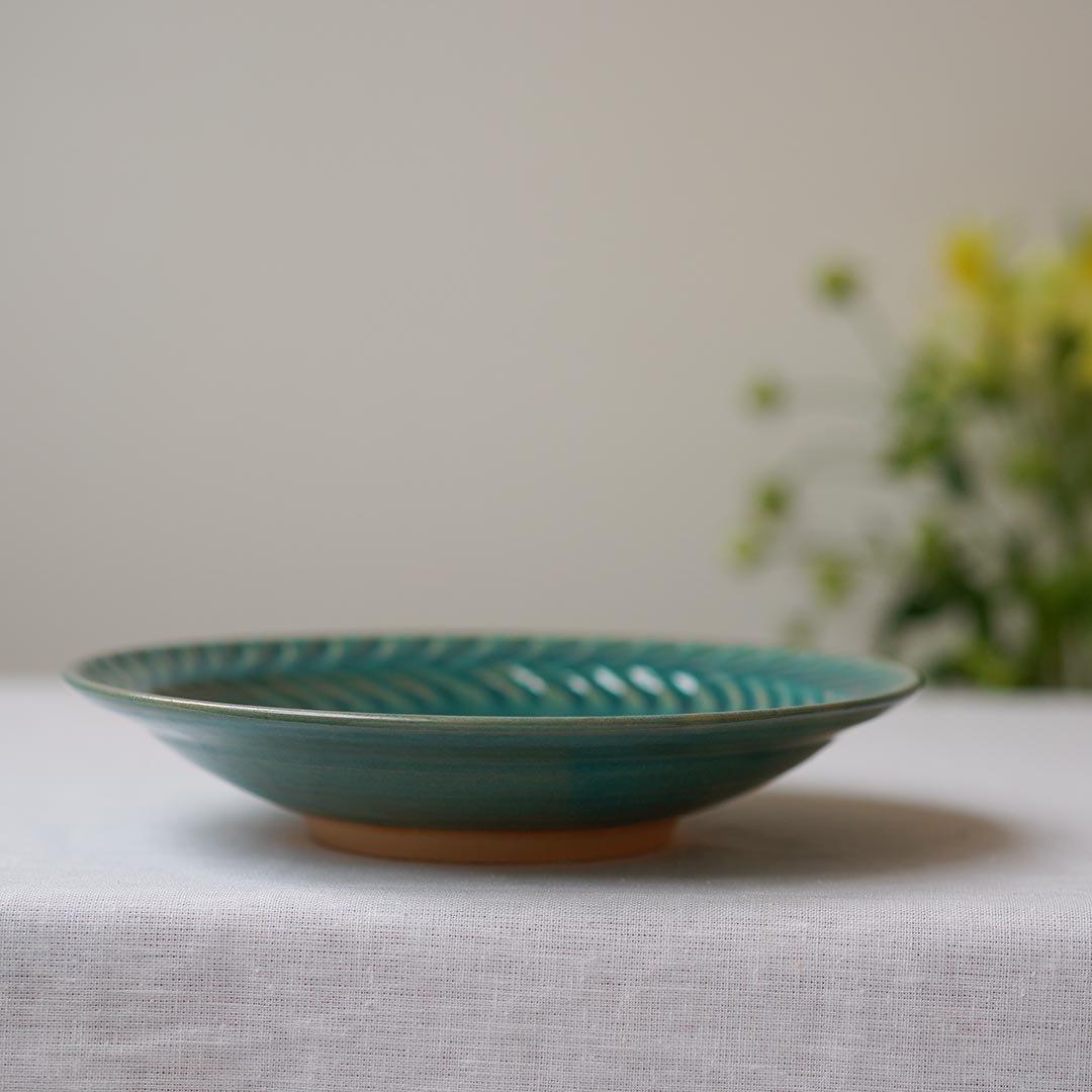 7寸葉紋皿 トルコブルー / 市野耕