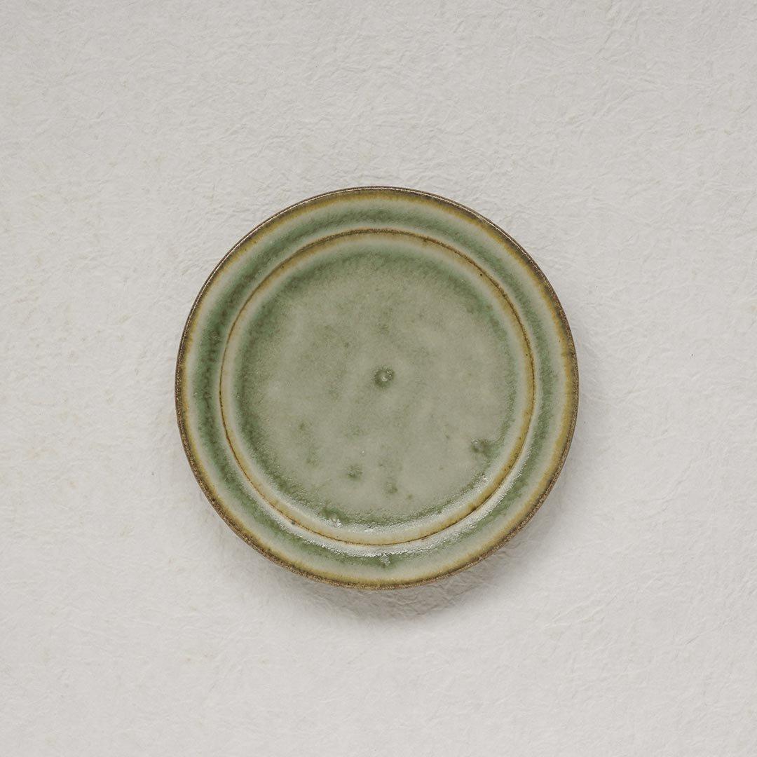 4寸フラット皿 彩色灰釉 / 市野耕