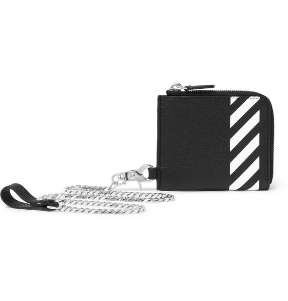on sale 8a984 61dc0 Striped Pebble-Grain Leather Zip-Around Chain Wallet/財布 -  オフホワイト|OFF-WHITEの通販店舗【オフホワイトファン】PADDED DENIM JACKETCREWNECK SWEATER/スウェット