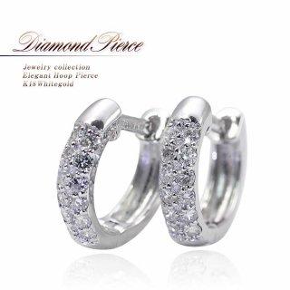 K18WG ダイヤモンド フープピアス 【当日出荷:平日13時までのご注文】