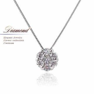 Pt900/Pt850 ダイヤモンド フラワー ネックレス 【当日出荷:平日13時までのご注文】
