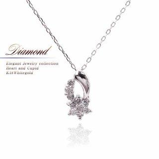 K18WG ダイヤモンド ネックレス 【当日出荷:平日13時までのご注文】