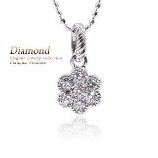 Pt900 ダイヤモンド フラワー ネックレス 【製作期間:約30日〜40日】