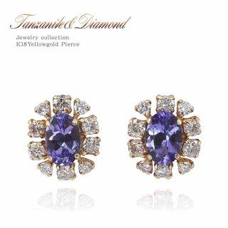 K18YG タンザナイト 1.0ct ダイヤモンド 0.5ct フラワーピアス 【当日出荷:平日13時までのご注文】