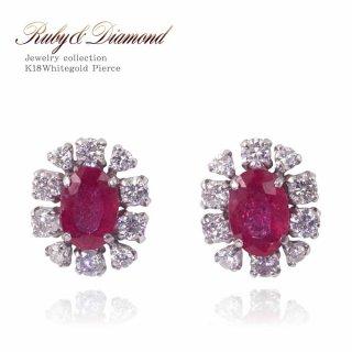 K18WG ルビー 1.0ct ダイヤモンド 0.5ct フラワーピアス 【当日出荷:平日13時までのご注文】