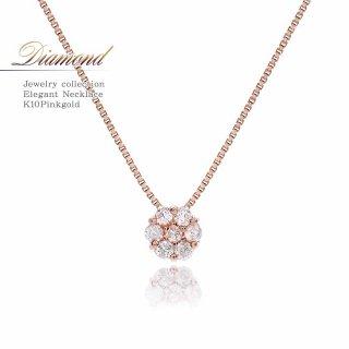 K10PG ダイヤモンド 0.08ct ネックレス 【当日出荷:平日13時までのご注文】