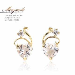 K18YG モルガナイト ダイヤモンド 0.06ct ハートピアス 【当日出荷:平日13時までのご注文】