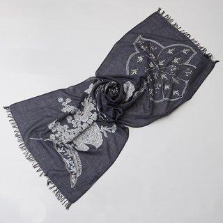 S-WTAN0002_0093_DARK GRAY 【FLOWER IN GENOVA】ウール・シルク アリー・ニードル手刺繍ストール
