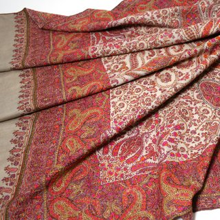 【30%OFF】S-PN0339_0161_BEIGE【PREMIUM】手織り カシミヤ ニードル手刺繍ショール