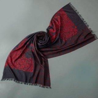 S-WTPA0010_1508_BLACK/DARK RED ウール・シルク アリー手刺繍 プリントストール
