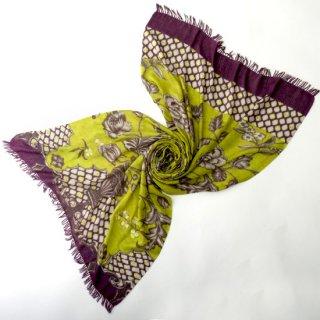 S-WFPA0001_0501_YELLOW GREEN ウール・シルク プリント&手刺繍ストール