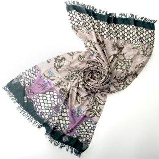 S-WFPA0001_0141_LAVENDER GRAY ウール・シルク プリント&手刺繍ストール