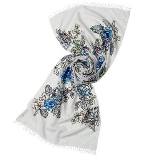 S-WTA0922_0092_LIGHT GRAY 【ROMAN FLOWERS】ウール・シルク アリー手刺繍ストール