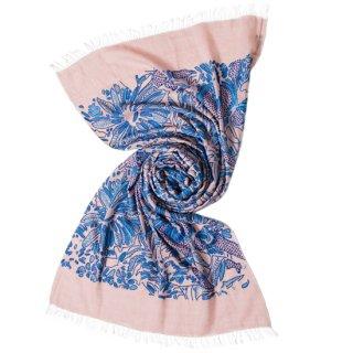 S-WTA0908_1106_PINK/BLUE 【BLUE JUNGLE】ウール・シルク アリー手刺繍ストール