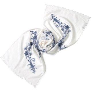 S-SN0130_0271_WHITE ニードル手刺繍シルクストール