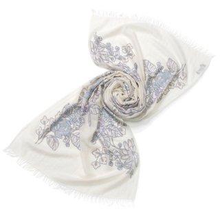 S-WTA0922_0283_WHITE/WHITE 【ROMAN FLOWERS】ウール・シルク アリー手刺繍ストール
