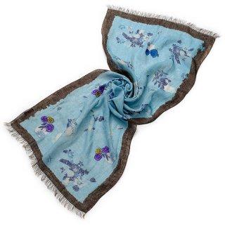 S-LPA0007_0002_LIGHT BLUE TARA BLANCA オリジナルプリント&手刺繍ストール