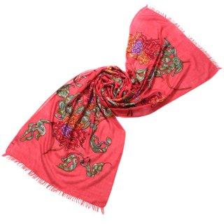 S-WTA0452_0251_RED フラワーモチーフ 薄手ウール・シルク アリー手刺繍ストール