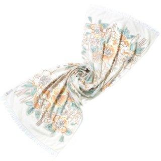 S-WTA0592_0280_WHITE/BEIGE ウール・シルク アリー手刺繍ストール