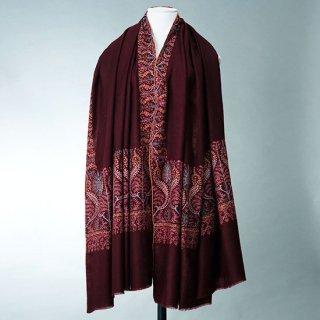 S-PN0584_0213_DARK BROWN 手織り カシミヤ ニードル手刺繍ショール