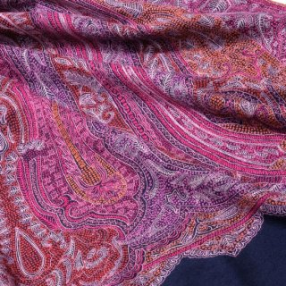 S-PN0604_0012_NAVY【★15周年特別企画★対象商品】手織り カシミヤ ニードル手刺繍ショール