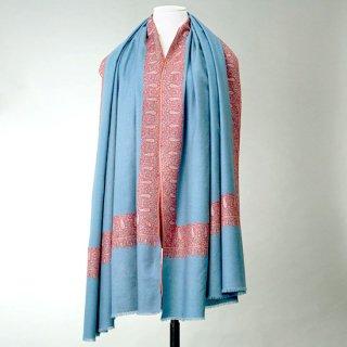 S-PN0918_0008_BLUE GRAY【★15周年特別企画★対象商品】手織り カシミヤ ニードル手刺繍ショール