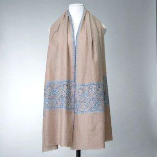 S-PN0930_0153_DARK BEIGE【★15周年特別企画★対象商品】手織り カシミヤ ニードル手刺繍ショール