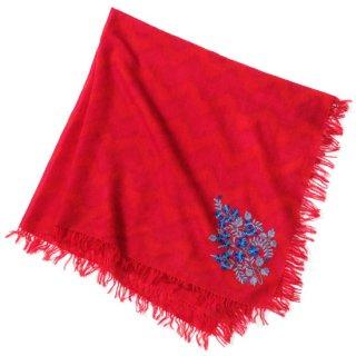 S-WPA0011S_0251_RED ウール100% プリント&アリー手刺繍ストール