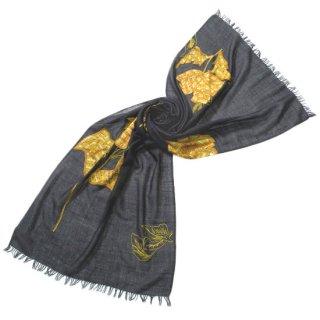 S-WTA0532_1504_OFF BLACK 【カーラ】薄手ウール・シルク アリー手刺繍ストール