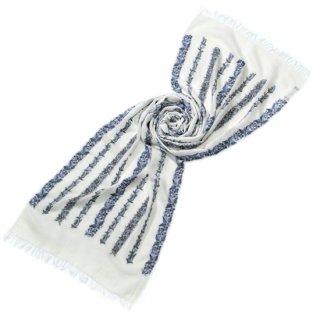 S-WTA0949_0271_WHITE ラインフラワーモチーフ 薄手ウール・シルク アリー手刺繍ストール