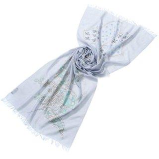 S-WTAN0002_0326_ALICE BLUE 【FLOWER IN GENOVA】薄手ウール・シルク アリー&ニードル手刺繍ストール