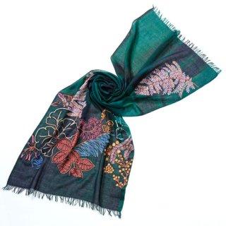 S-WTPA0002_0507_BOTTLE GREEN ウール・シルク プリント&アリー手刺繍ストール