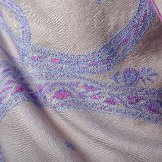 S-PN0570_0091_GRAY 手織り カシミヤ ニードル手刺繍ショール