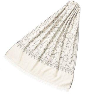 S-PN0685_0276_WHITE/BLACK 【★15周年特別企画★対象商品】手織り カシミヤ ニードル手刺繍ショール