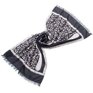 S-WTA0210_0095_CHARCOAL GRAY フラワー&ペーズリーモチーフ ウール・シルク アリー手刺繍ストール