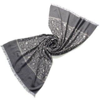 S-WN0217L_1416_GRAY/WHITE 総柄フラワー ウール100% ニードル手刺繍ストール