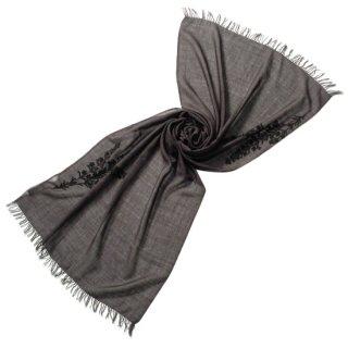 S-WTA0943_1410_CHARCOAL GRAY/BLACK フラワーモチーフ 薄手ウール・シルク アリー手刺繍ストール