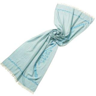 S-WTA0977_0324_SMOKE BLUE ペイズリーモチーフ 薄手ウール・シルク アリー手刺繍ストール