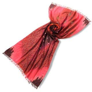 S-WTPN0002_1000_DARK RED/BLACK 薄手ウール・シルク プリント&ニードル手刺繍ストール