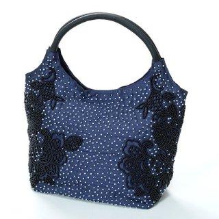 B-LT0329_0012_NAVY フラワーモチーフ ビーズ刺繍ハンドバッグ