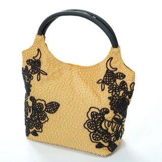 B-LT0329_0151_BEIGE フラワーモチーフ ビーズ刺繍ハンドバッグ