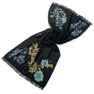 S-WFA0043_0231_BLACK フラワーモチーフ 薄手ウール・シルク アリー手刺繍ストール