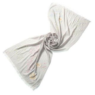 S-WFA0043_0098_PALE GRAY フラワーモチーフ 薄手ウール・シルク アリー手刺繍ストール